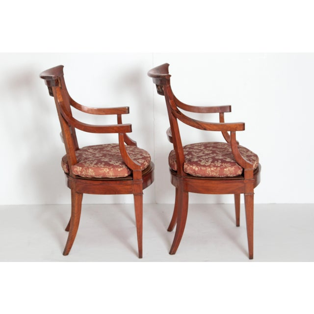 Gold Pair of Italian Neoclassical Armchairs For Sale - Image 8 of 13