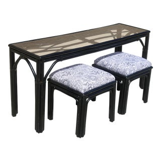 Black Bamboo Console or Dinette Table With Ottomans For Sale