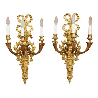 Pair of Mid-19th Century French Louis XVI Bronze Dore Three-Light Wall Sconces For Sale
