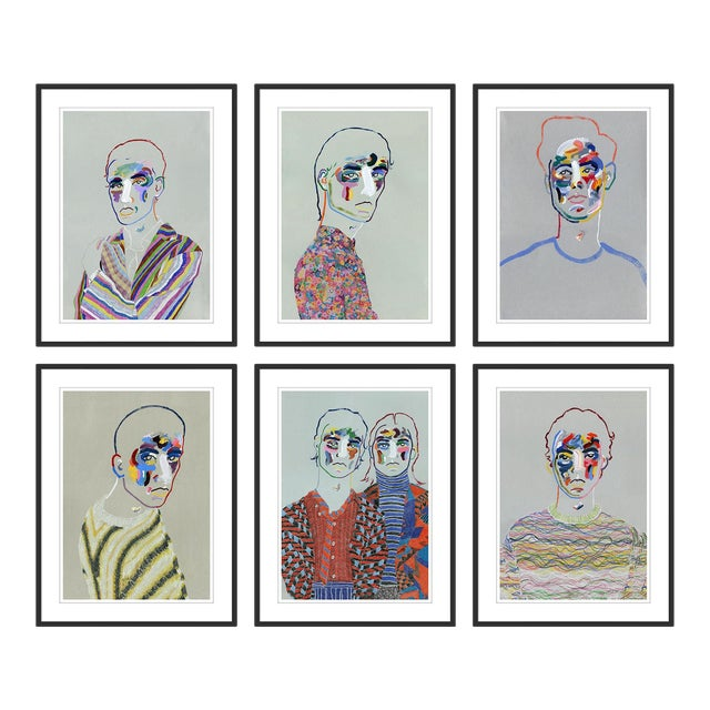 Set of 6 Portraits by Robson Stannard in Black Frame, XS Art Prints For Sale