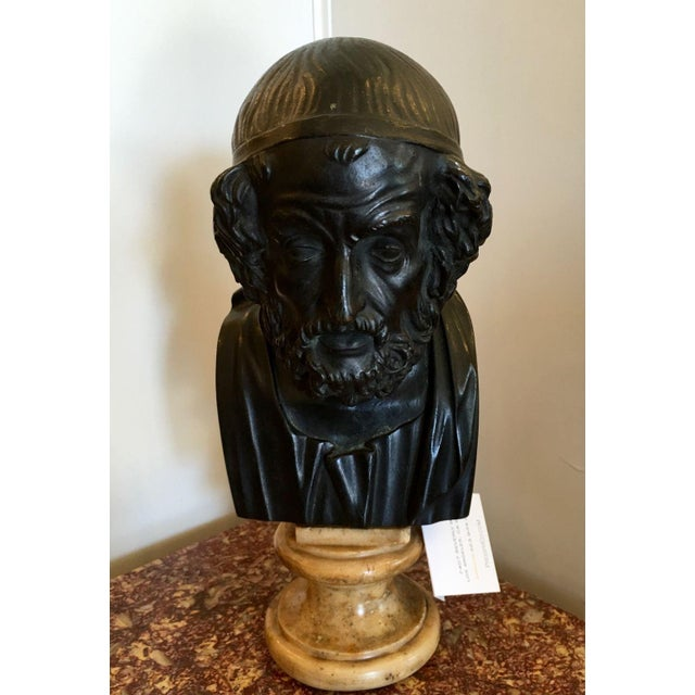 Antique Bronze Philosopher Bust - Image 2 of 5
