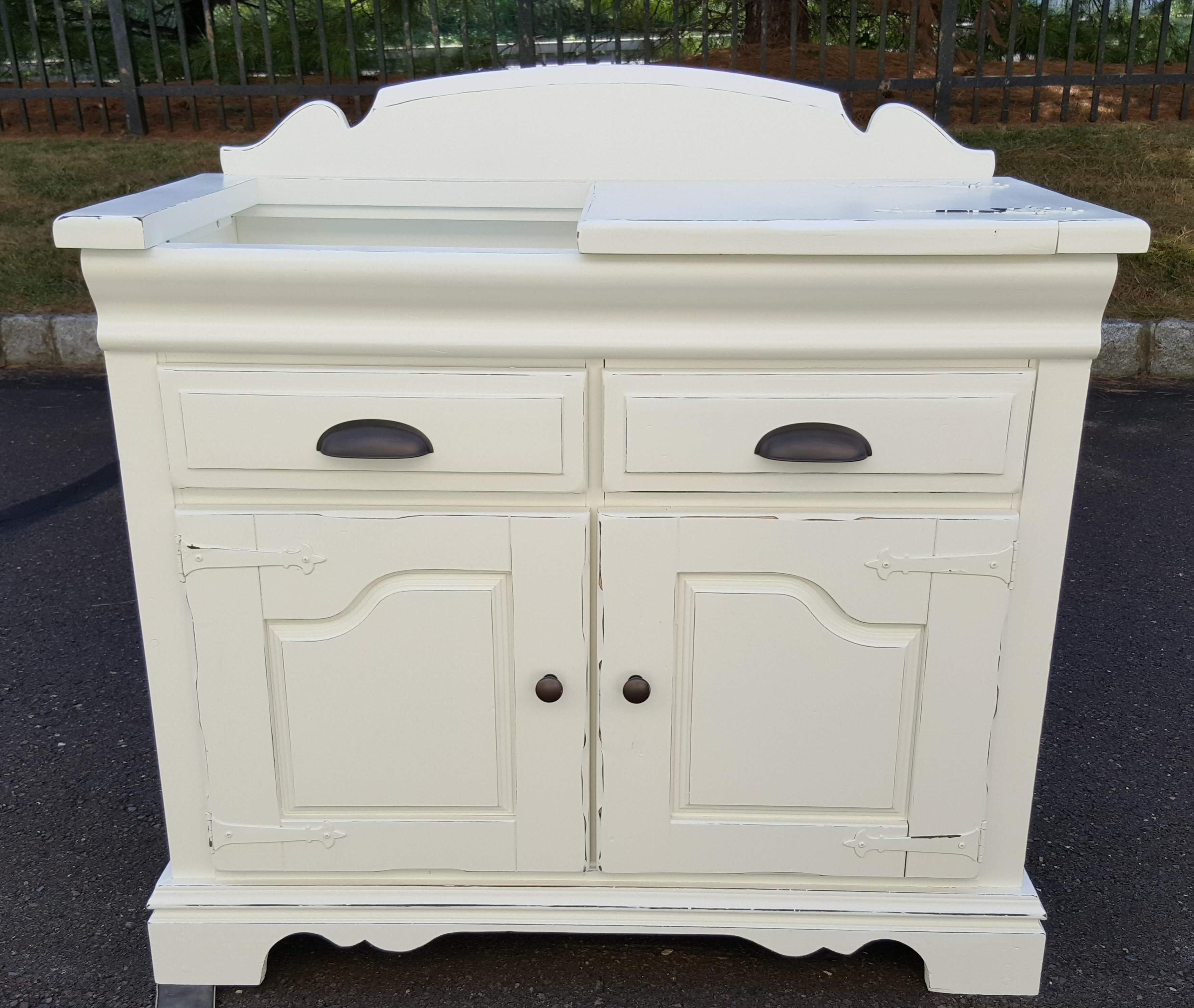 Sold Vintage Cabinet storage bookcase linen closet display cottage chic distressed Alabaster white