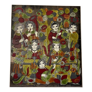 1950s Tile Art by French Dodik Segou For Sale