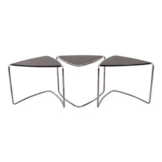 Triangular Stacking Tables on Chrome - Set of 3 For Sale