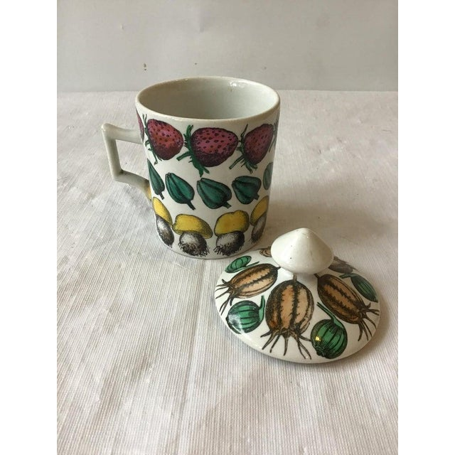 Mid-Century Modern 1960s Fornasetti Giostra Di Frutta Mug with Lid For Sale - Image 3 of 6