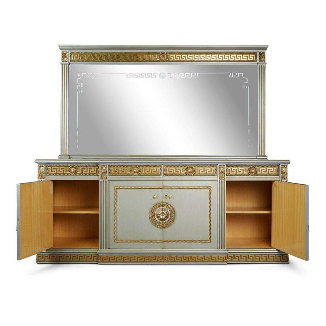 Contemporary Greek Revival Versace Style Modernist Server With Mirror, Circa 1970 For Sale - Image 3 of 10