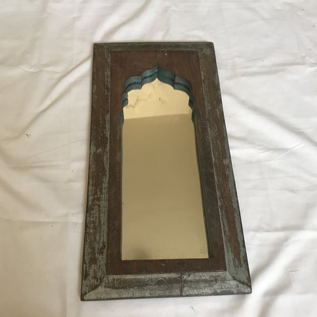 Boho Chic Vintage Indian Archway Painted Teak Mirror For Sale - Image 3 of 11