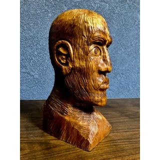 1970s Vintage Solid Wood Hand-Carved Male Bust Sculpture Preview