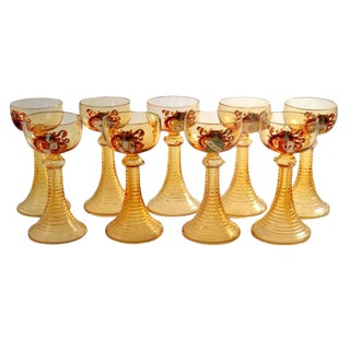 19th Century Antique Moser Armorial Heraldic Coat of Arms Amber Romer Wine Glasses - Set of 9 For Sale