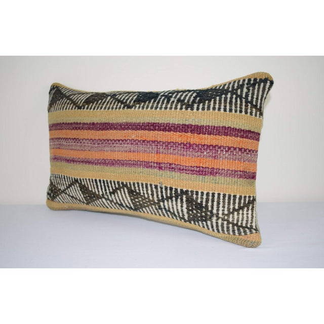 Islamic Vintage Turkish Lumbar Pillow Cover, Ethnic Tribal Kilim Pillow 12'' X 20'' (30 X 50 Cm) For Sale - Image 3 of 6
