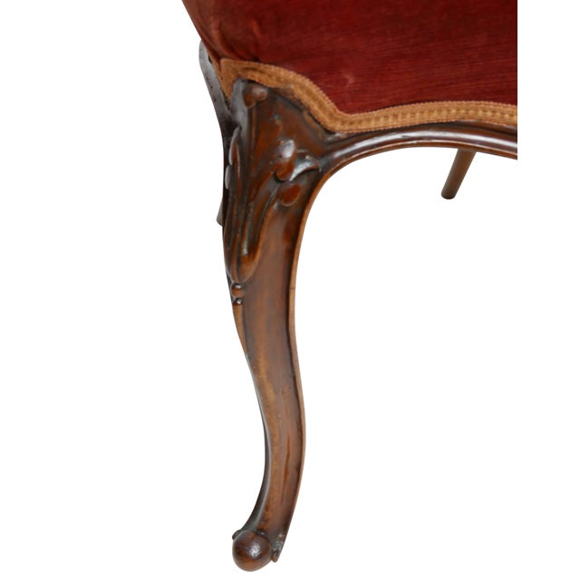 Brown Pair of Walnut Balloon Back Side Chairs, English Victorian 19th Century For Sale - Image 8 of 12