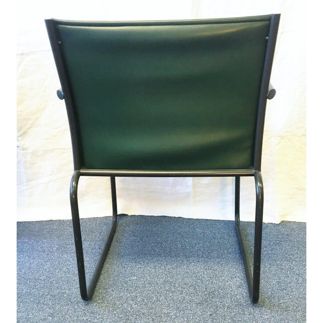 1980s Vintage Richard Schultz for Knoll Dark Green Leather Chairs - Set of 4 For Sale - Image 5 of 6