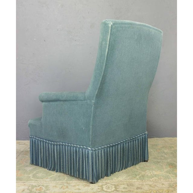 19th Century French Faded Blue Velvet Armchair - Image 7 of 11