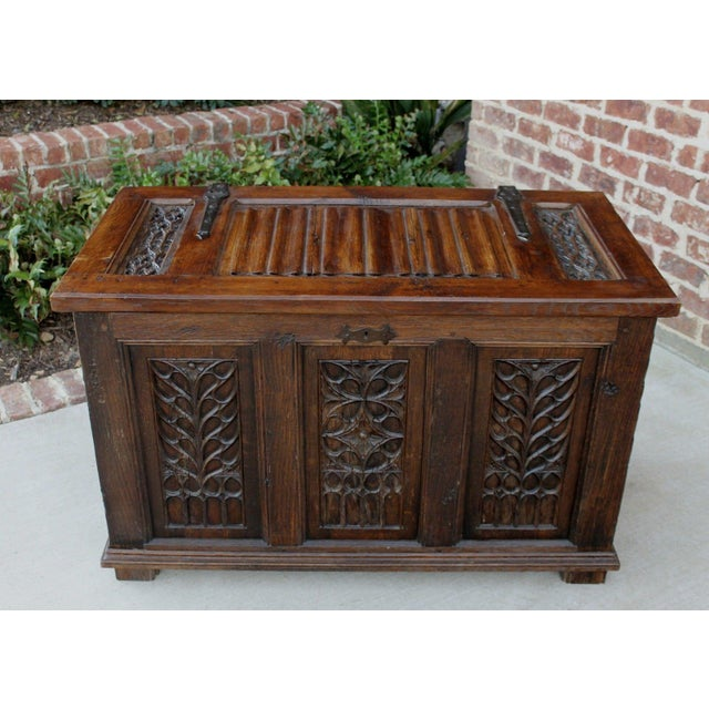 Brown Antique French Oak 19th Century Gothic Coffer Chest Blanket Box Trunk For Sale - Image 8 of 12