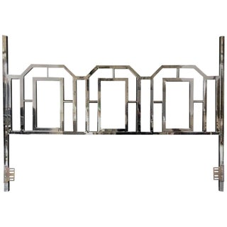 Mid-Century Modern King Chrome Brass Headboard in the Style of Milo Baughman For Sale