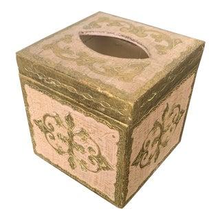 Venetian Wood Tissue Box Holder For Sale