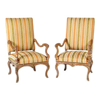 1900s Vintage French Louis XIV / Regency Style Arm Chairs With Hoof Feet - a Pair For Sale
