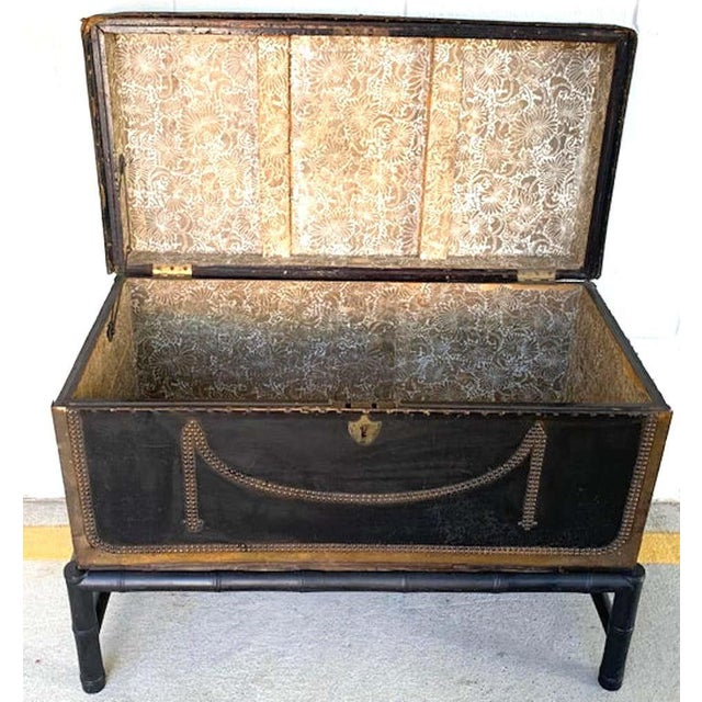 Metal 19th Century English Regency Brass Studded Leather Chest on Stand For Sale - Image 7 of 10