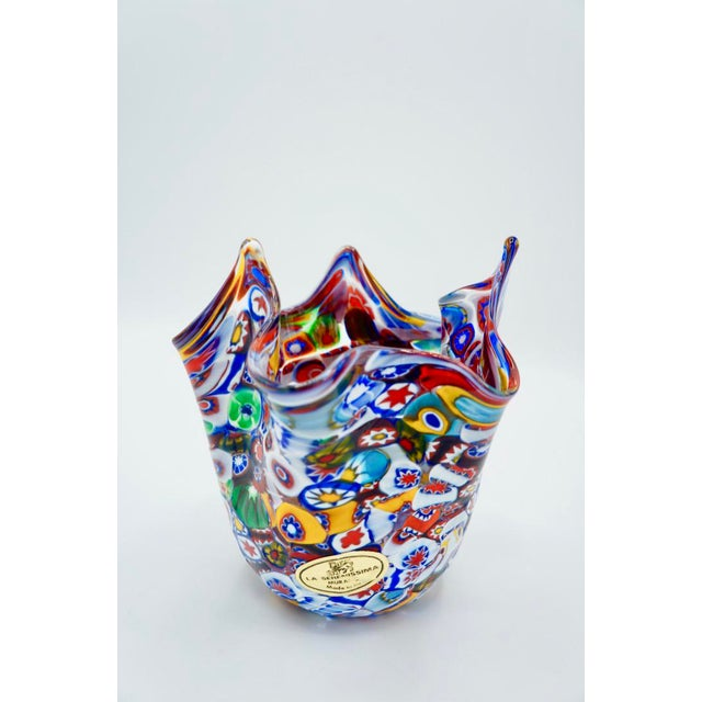 Gorgeous polychromatic Murano handkerchief vase! This Murano vase was designed in the form of an inverted hanging...