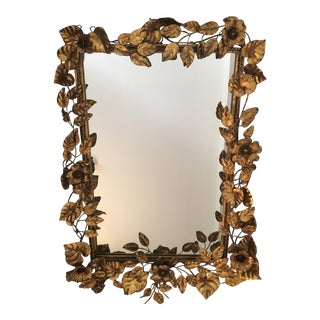 1950s Italian Gilt Flower and Leaf Mirror For Sale