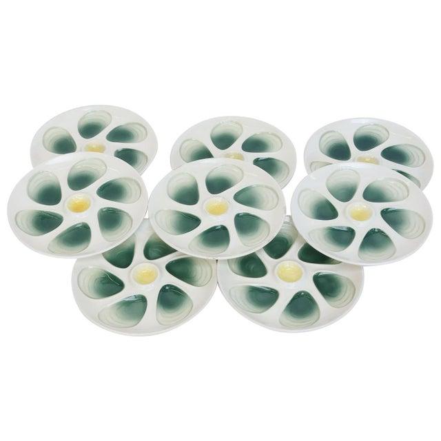 White Set of Eight French Oyster Plates For Sale - Image 8 of 8