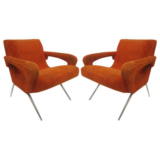 Mid-Century Italian Upholstered Lounge Slipper Chairs - a Pair For Sale