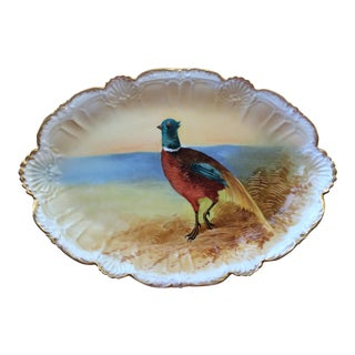 Antique Limoges French Signed Pheasant Platter With Gold Trim For Sale