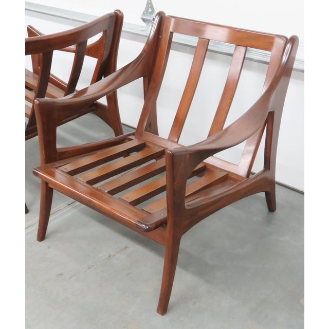 Modern Design Slatted Lounge Chairs - Pair - Image 2 of 6