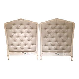 Restoration Hardware Upholstered Twin Bedframes - A Pair For Sale