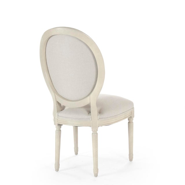 French Country Everest Medallion Side Chair in Natural Linen For Sale - Image 3 of 5