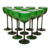 Image of Carlo Moretti White Cased Melon Green Stemware - Set of 10 For Sale