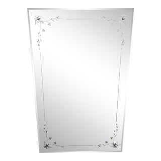 Early 20th Century Art Deco Floral Patterned Mirror