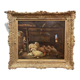 19th Century Dutch Sheep Painting in Carved Gilt Frame Signed Frans Lebret For Sale