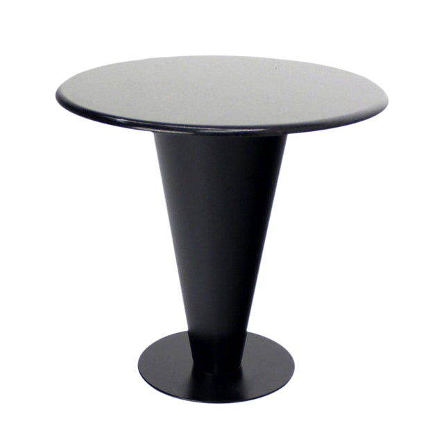 Apollo Woodworking Black Granite Top Heavy Metal Cone Base Cafe Gueridon Table For Sale