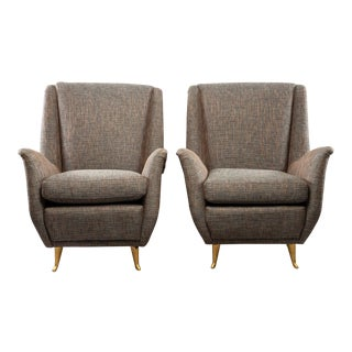 Pair Mid-Century Italian Paolo Buffo Style Armchairs For Sale