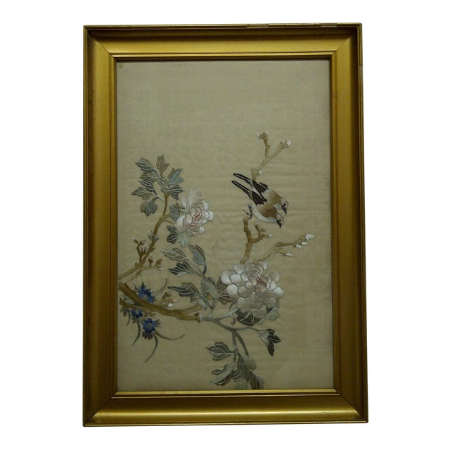 """""""Song Birds"""" Embroidery on Silk For Sale"""