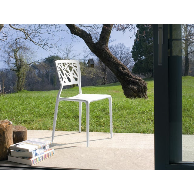 White Modern Dining Chairs - Set of 4 - Image 2 of 2