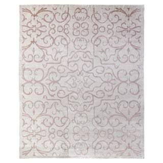 Dartford Hand knotted Bamboo/Silk Light Pink Rug-12'x15' For Sale