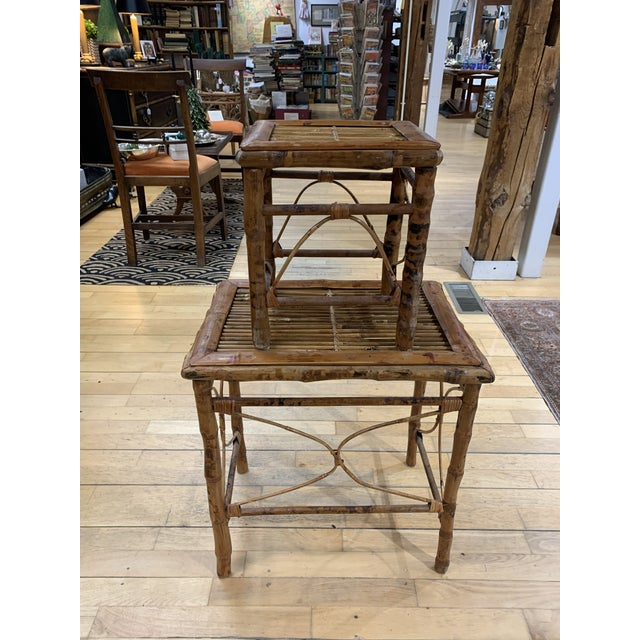 Patina rich stackable set of vintage bamboo cocktail tables