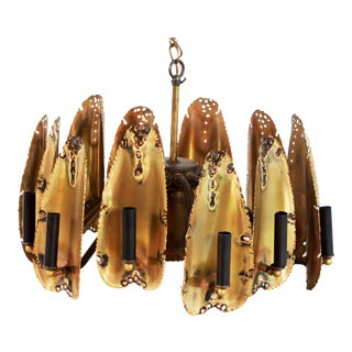 Vintage Tom Greene Brutalist Mid Century Modern Torch Cut Brass Chandelier For Sale