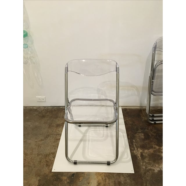 Mid Century Modern set of Six Lucite and Metal Folding Chairs - Image 3 of 7
