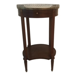 20th Century Traditional Marble Top Cherry Side Table For Sale
