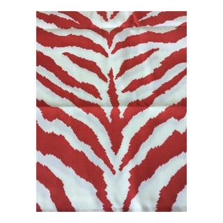 Clarence House Od Zebra Red Indoor/Outdoor Fabric Remnants For Sale