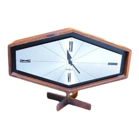 Vintage Mid Century Modern Desk Clock by Arthur Umanoff for George Nelson  and Associates