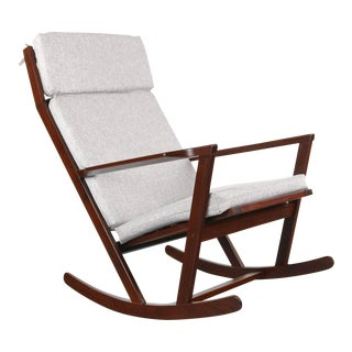 Danish Modern Rocking Chair by Poul Volther for Frem Rojle on a Sculpted Afromosia frame w/ new Knit Upholstery, Denmark For Sale