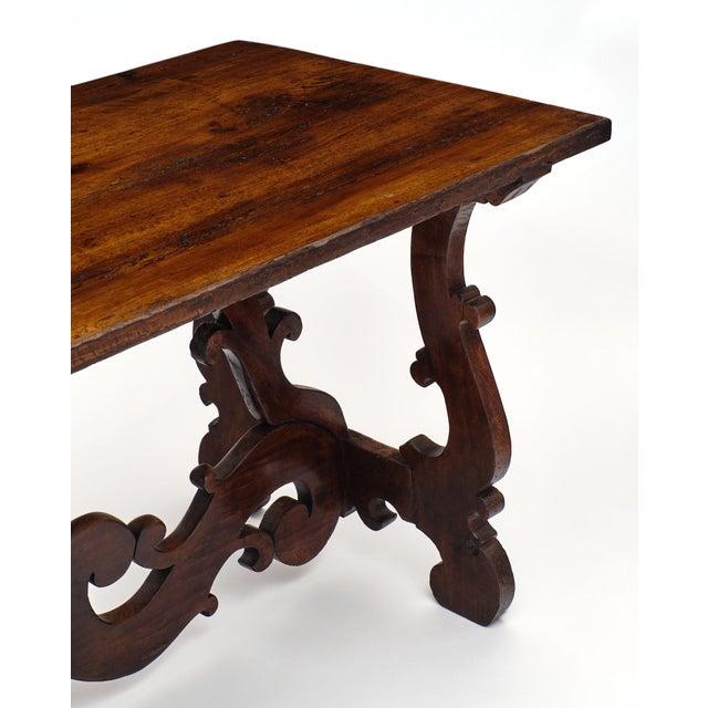 "Antique Spanish Renaissance ""Lyra"" Trestle Table For Sale - Image 4 of 10"