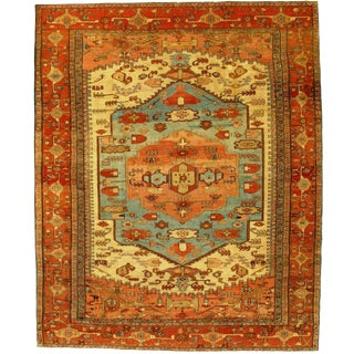 """Pasargad Antique Persian Serapi Hand Knotted Wool Rug - 9′8"""" × 12′"""