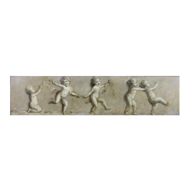 Rectangular depicting five cherubs, French style frame.