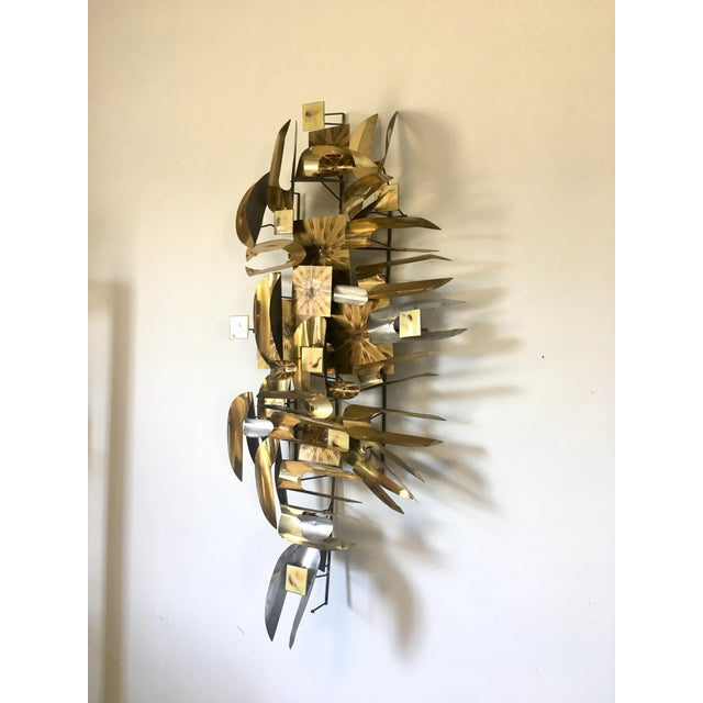 Brutalist William Vose Mid-Century Brass Wall Art Sculpture For Sale - Image 3 of 12