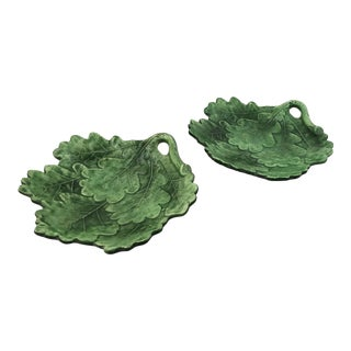 Italian Vietri Leaf Form Dishes - a Pair For Sale